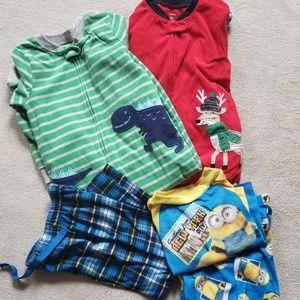 Lot of boys pajamas footie and 2 piece